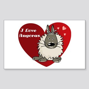 I love angora rabbits Rectangle Sticker