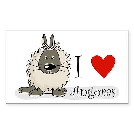 """I """"heart"""" angora rabbits Rectangle Sticker"""