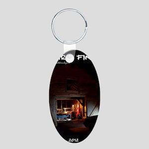 barn-find vertical calendar Aluminum Oval Keychain