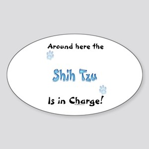 Shih Tzu Charge Oval Sticker