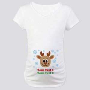 Personalize Cute Baby Reindeer Maternity T-Shirt