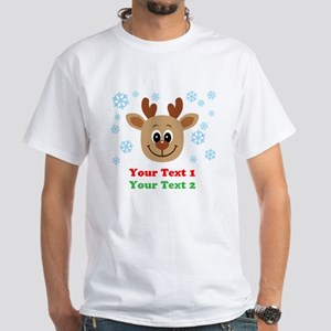 Personalize Cute Baby Reindeer White T-Shirt