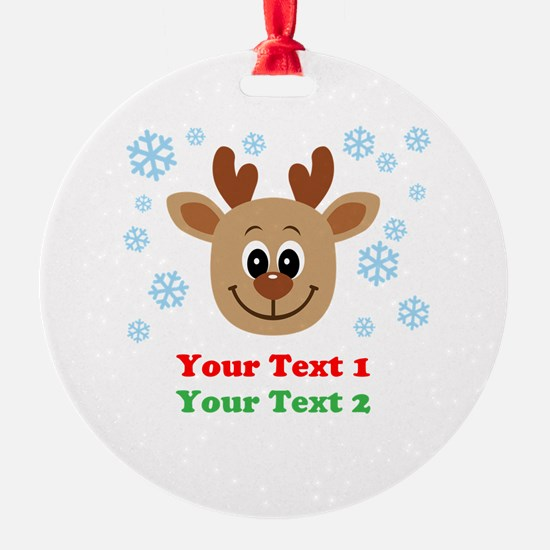 Personalize Cute Baby Reindeer Round Ornament