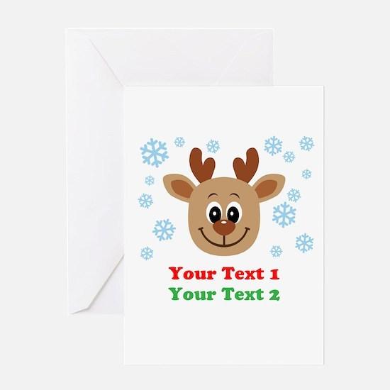 Personalize Cute Baby Reindeer Greeting Card