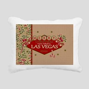Las Vegas Christmas Card Rectangular Canvas Pillow