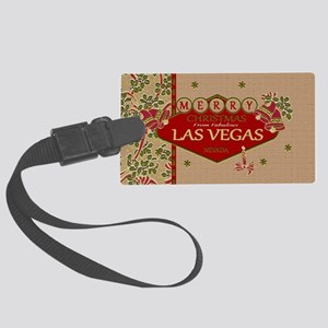 Las Vegas Christmas Card Large Luggage Tag