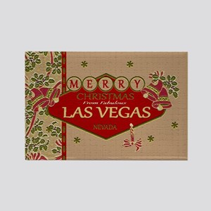 Las Vegas Christmas Card Rectangle Magnet