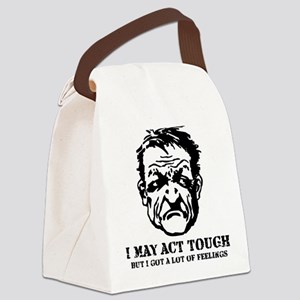 tough_guy_feelings_blk Canvas Lunch Bag