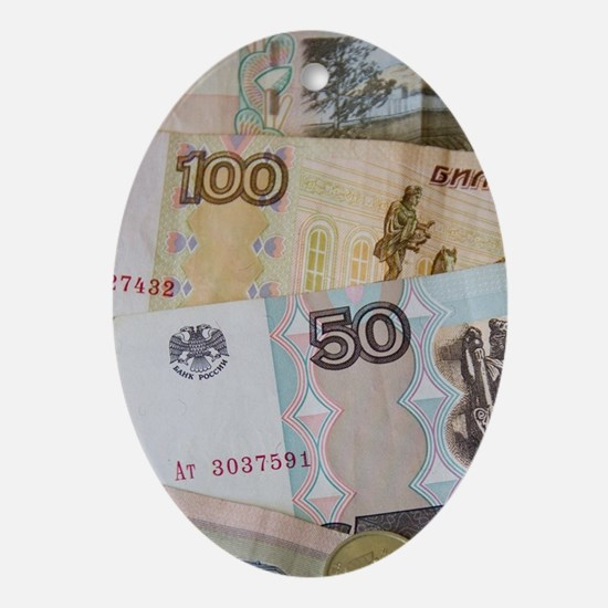 The Rouble bills and coins. (RF) Oval Ornament