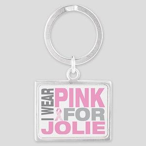 I-wear-pink-for-JOLIE Landscape Keychain