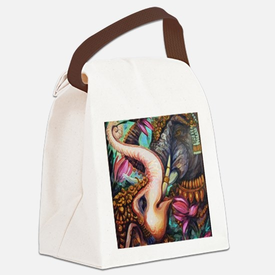 7x7 Elephants Canvas Lunch Bag