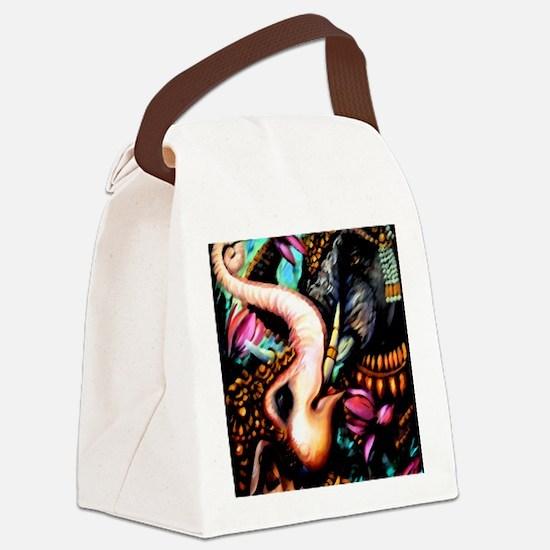 7x7 Dark Elephants Canvas Lunch Bag