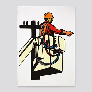 power lineman electrician repairman 5'x7'Area Rug