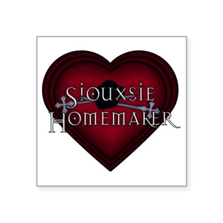 "Siouxsie Homemaker Red Knit Square Sticker 3"" x 3"""