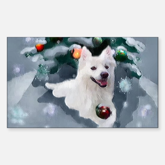 Cute American eskimo dog Sticker (Rectangle)