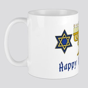 Happy Hanukkah Menorah and Stars Mug