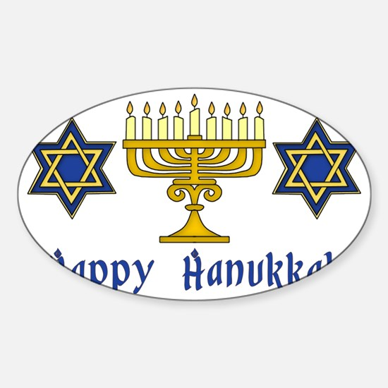 Happy Hanukkah Menorah and Stars Sticker (Oval)