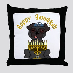 Happy Hanukkah Black PUg Throw Pillow