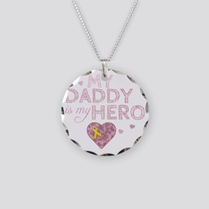 daddy is my hero pink Necklace Circle Charm