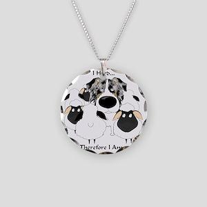 BlueMerleHerdingLt Necklace Circle Charm
