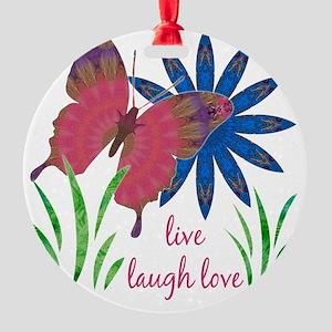 butterfly flower card 3 vert Round Ornament
