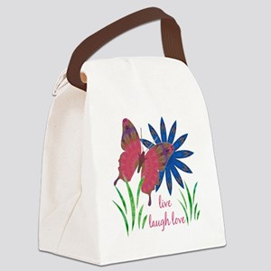 butterfly flower card 3 vert Canvas Lunch Bag