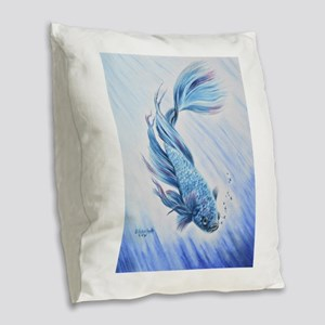 Blue Betta Burlap Throw Pillow