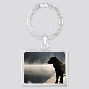Flat Coat in the Fog Landscape Keychain