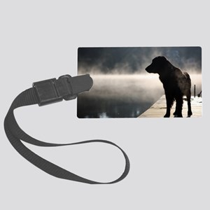 Flat Coat in the Fog Large Luggage Tag