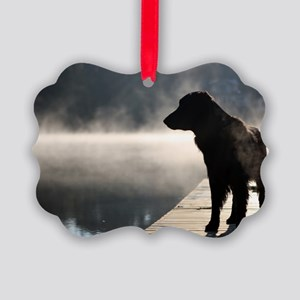 Flat Coat in the Fog Picture Ornament