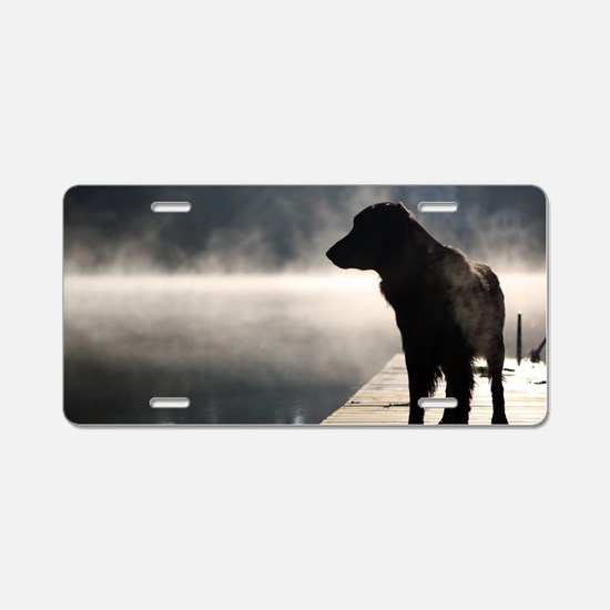 Flat Coat in the Fog Aluminum License Plate
