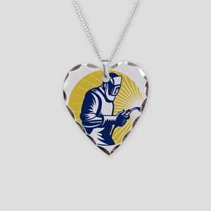 welder welding at work retro  Necklace Heart Charm
