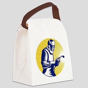 welder welding at work retro styl Canvas Lunch Bag