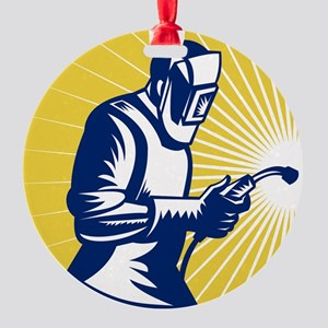 welder welding at work retro style Round Ornament