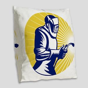 welder welding at work retro s Burlap Throw Pillow