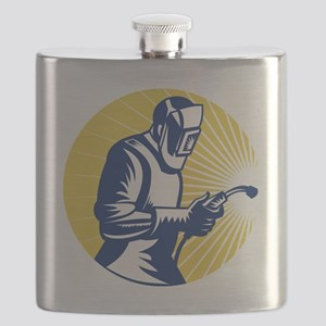 welder welding at work retro style Flask