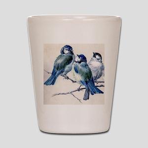 blue birds Shot Glass
