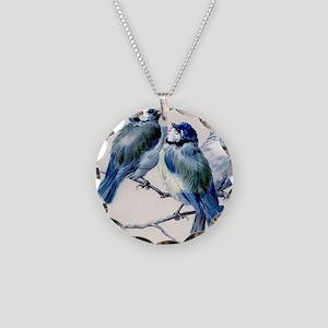 blue birds Necklace Circle Charm