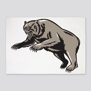 grizzly bear attacking woodcut 5'x7'Area Rug