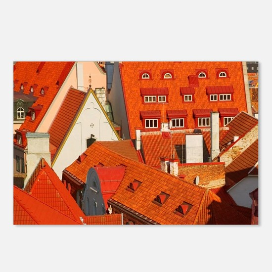 Overview of red roofs of  Postcards (Package of 8)