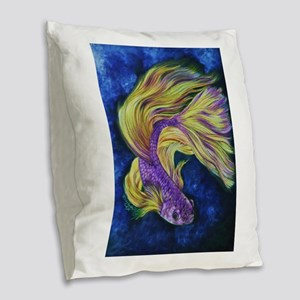 Purple Betta Burlap Throw Pillow