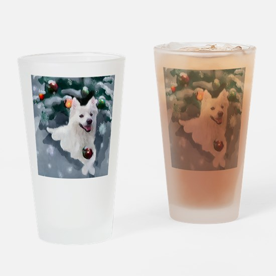 American Eskimo Dog Christmas Drinking Glass