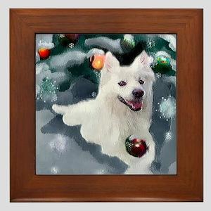 American Eskimo Dog Christmas Framed Tile
