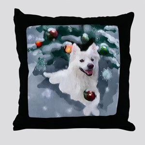 American Eskimo Dog Christmas Throw Pillow