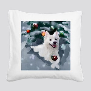 American Eskimo Dog Christmas Square Canvas Pillow