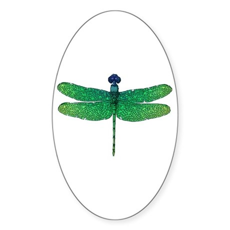 Emerald Dragonfly Oval Sticker