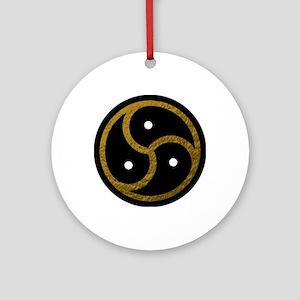 Gold and Black BDSM EMBLEM - SYMBOL Round Ornament