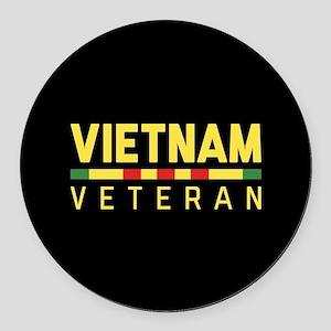 Vietnam Veteran Round Car Magnet