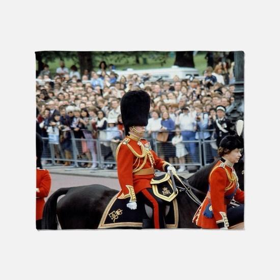 Queen Elizabeth on horseback during  Throw Blanket