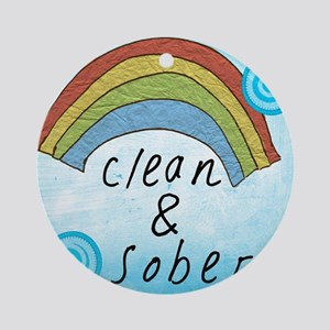 Clean and Sober Round Ornament